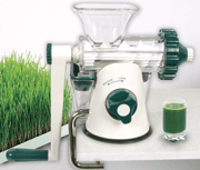 An example of a manual masticating juicer that is really good for wheatgrass and other green leafy vegetables.